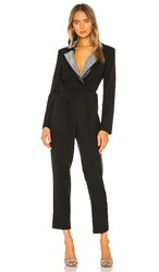 Torn By Ronny Kobo Sharon Crystal Jumpsuit In Black.