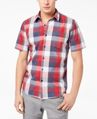American Rag Men's Block Plaid Shirt Created For Macy's Red