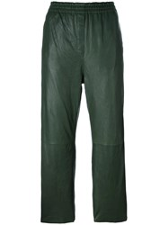 Forte Forte Cropped Leather Trousers Green