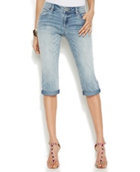 Inc International Concepts Embroidered Capri Jeans Delight Wash