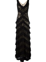 Martha Medeiros Lace Applique Maxi Dress Black