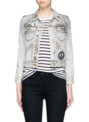 Marc Jacobs Embellished Bleached Denim Shrunken Jacket Grey