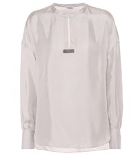 Brunello Cucinelli Embellished Silk Twill Top Grey