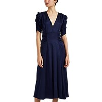 Masscob Harlow Ruched Silk Dress Navy