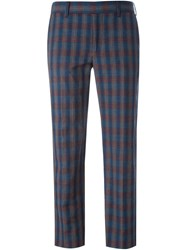 Paul By Paul Smith Interwoven Check Cropped Trousers Multicolour