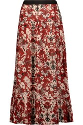 Iro Amita Pleated Printed Broadcloth Maxi Skirt Red