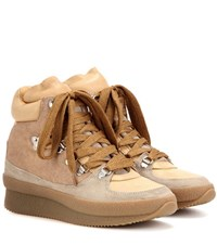 Isabel Marant Etoile Brent Leather And Suede Ankle Boots Beige
