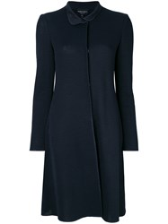 Emporio Armani Perforated Single Breasted Coat Blue
