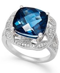 Macy's London Blue Topaz 7 Ct. T.W. And Diamond 1 7 Ct. T.W. Ring In Sterling Silver