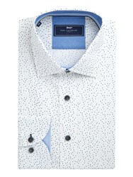 Paul Costelloe Men's Spoc Slim Fit Polka Dot Cotton Shirt White
