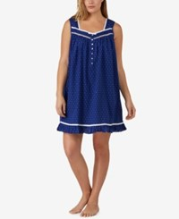 Eileen West Plus Size Ribbon Trimmed Printed Cotton Nightgown Blue Dot