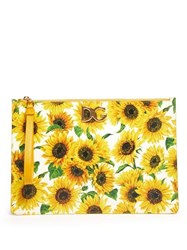 Dolce And Gabbana Sunflower Print Leather Pouch White Multi