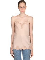 Pink Memories Stretch Viscose And Lace Tank Top Nude