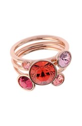 Women's Ted Baker London 'Jackie' Crystal Stacking Rings Coral Multi Rose Gold Set Of 3