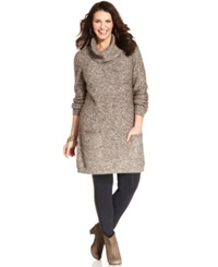 Style And Co. Plus Size Marled Cowl Neck Sweater Tunic Espresso Winter White