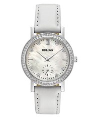 Bulova Crystal Leather Band Watch White