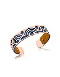 Les Georgettes Small Poisson Rose Gold Plated Bracelet W Navy Blue And Beige Reversible Leather Strap