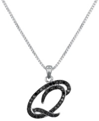 Macy's Sterling Silver Necklace Black Diamond 'Q' Initial Pendant 1 4 Ct. T.W.