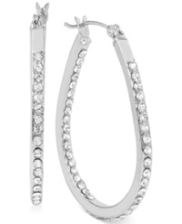 Touch Of Silver Small Oval Crystal Hoop Earrings In Silver Plated Brass