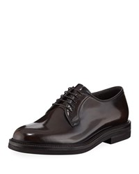 Brunello Cucinelli Patent Leather Oxford Shoes Brown