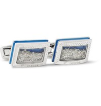 Tateossian Enamelled Rhodium Plated Diamond Cufflinks Silver