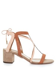 Aquazzura Fiji Block Heel Suede Sandals Nude Multi
