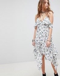 Kiss The Sky Cold Shoulder Midi Tea Dress In Floral Print Blue
