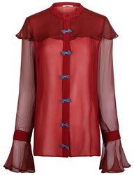 Marco De Vincenzo Red Chiffon Bow Front Blouse