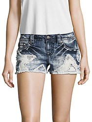 Miss Me Whiskered Star Patched Shorts Multicolor