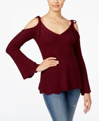 American Rag Juniors' Ribbed Cold Shoulder Sweater Only At Macy's Zinfandel