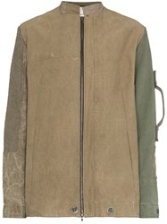 By Walid Panelled Zip Front Jacket Green