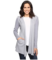 Allen Allen Long Sleeve Hooded Open Cardigan Pale Grey Women's Sweater Gray