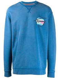 Tommy Jeans Logo Printed Sweater Blue