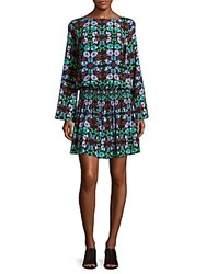 Nicole Miller Floral Print Drop Waist Dress Blue Multi