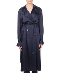Magda Butrym Punta Cana Double Breasted Belted Silk Trench Coat Navy