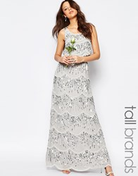 Maya Tall Layered Maxi Dress With All Over Embellishment Soft Grey