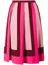 Valentino Pleated Crepe Skirt Women Acetate Viscose 44 Pink Purple