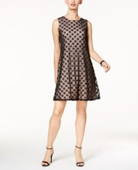 Nine West Metallic Dot Shift Dress Black Blush