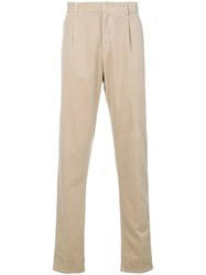 Aspesi Straight Leg Corduroy Trousers Nude And Neutrals