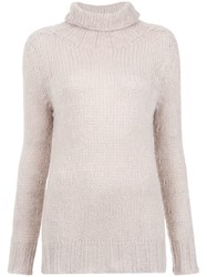 Cecilia Prado Turtle Neck Tricot Blouse Nude And Neutrals