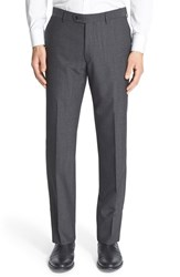 Men's John Varvatos Star Usa Flat Front Houndstooth Wool Blend Trousers Charcoal