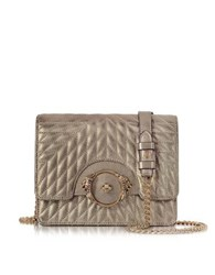 Roberto Cavalli Star Metallic Quilted Nappa Leather Shoulder Bag Platinum