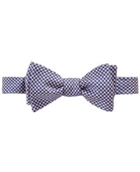 Brooks Brothers Men's Gingham Dot To Tie Bow Tie Blue