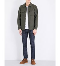 A.P.C. Collared Wool Blend Jacket Kaki Militaire