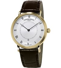 Frederique Constant Fc306mc4s35 Slimline Classics Automatic Yellow Gold Plated And Alligator Leather Watch Silver