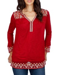 Lucky Brand Embroidered Pullover Tunic Tibetan Red