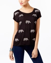 Inc International Concepts Embellished Elephant Print T Shirt Only At Macy's Deep Black