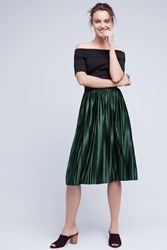 Anthropologie Pleated Velvet Skirt Green