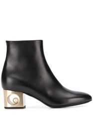 Coliac Contrast Heel Ankle Boots Black