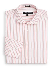 Bogosse Slim Fit Striped Dress Shirt White